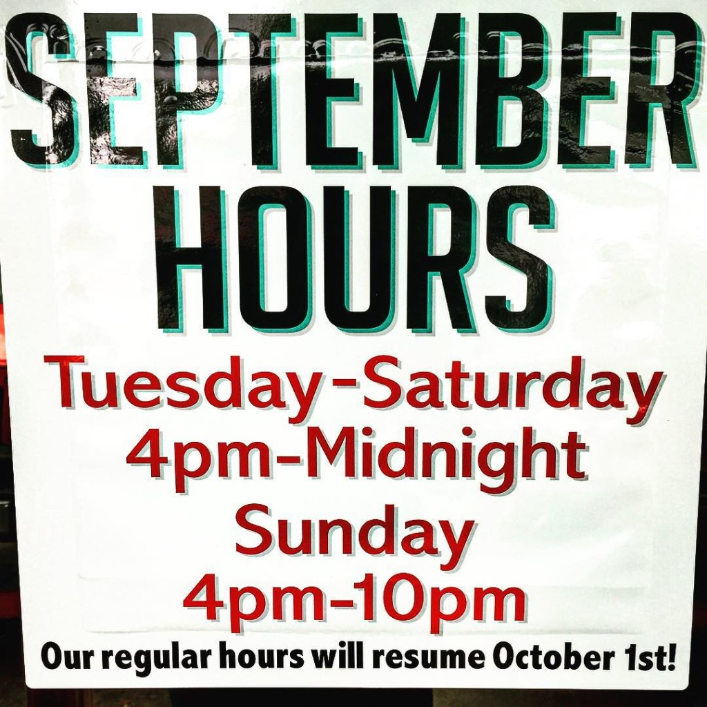 Starting tomorrow our September hours will go into effect Mondayshellip